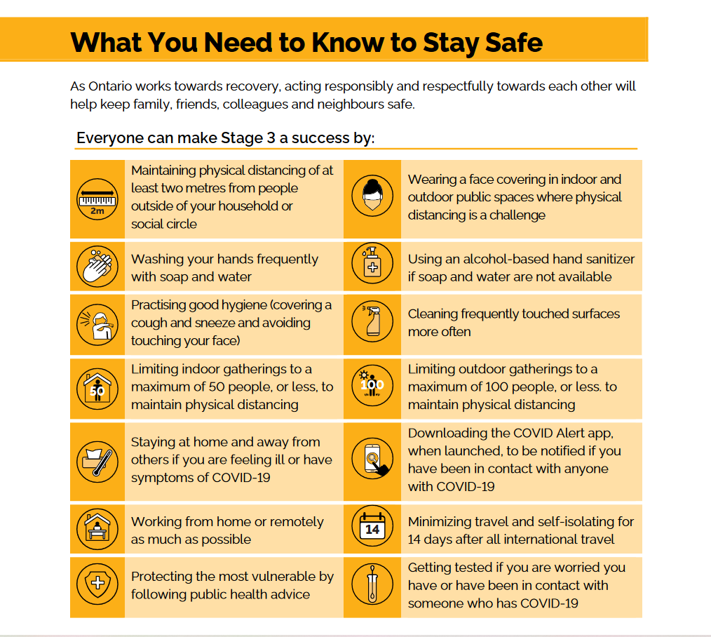 Tips from the ontario government on staying safe